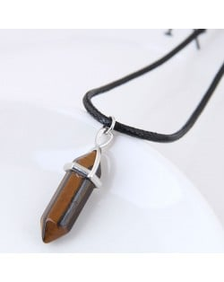 Stone Pencil Stub Pendant High Fashion Rope Statement Necklace - Coffee