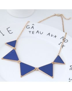 Oil-spot Glazed Triangles Design High Fashion Costume Necklace - Blue