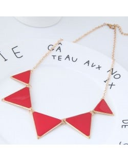 Oil-spot Glazed Triangles Design High Fashion Costume Necklace - Red