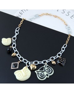 Night-owl and Hearts Pendants Mixed Colors Chunky Chain Design Fashion Statement Necklace
