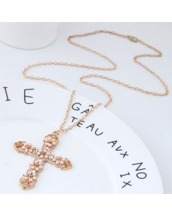 Beads Embellished Golden Alloy Cross Long Chain Fashion Costume Necklace