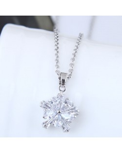 Delicate Cubic Zirconia Shining Flower Pendant Korean Fashion Costume Necklace - Silver