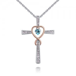 Hollow Heart Inlaid Cross Design Austrian Crystal Necklace - Aquamarine