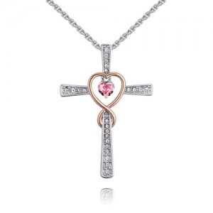 Hollow Heart Inlaid Cross Design Austrian Crystal Necklace - Rose