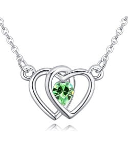 Linked Hearts Design Austrian Crystal Necklace - Olive