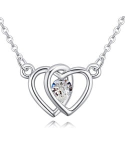 Linked Hearts Design Austrian Crystal Necklace - White