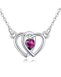 Linked Hearts Design Austrian Crystal Necklace - Purple