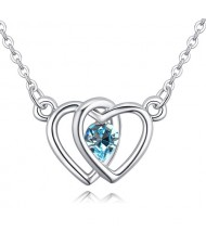 Linked Hearts Design Austrian Crystal Necklace - Aquamarine