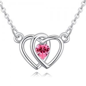 Linked Hearts Design Austrian Crystal Necklace - Rose