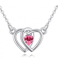 Linked Hearts Design Austrian Crystal Necklace - Rose