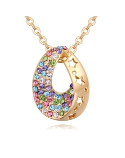 Austrian Crystal Inlaid Star Hollow-out Design Waterdrop Pendant Necklace - Multicolor