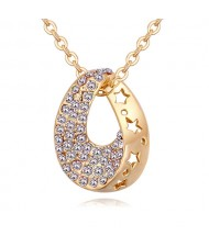 Austrian Crystal Inlaid Star Hollow-out Design Waterdrop Pendant Necklace - White