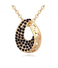 Austrian Crystal Inlaid Star Hollow-out Design Waterdrop Pendant Necklace - Black
