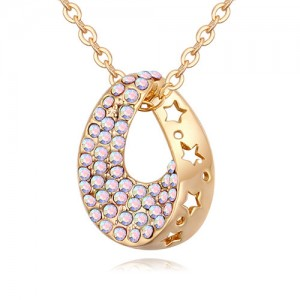 Austrian Crystal Inlaid Star Hollow-out Design Waterdrop Pendant Necklace - Luminous White