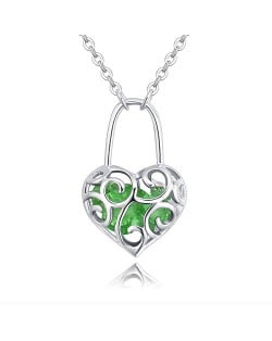 Austrian Crystal Inlaid Floral Hollow Heart Lock Pendant Platinum Plated Alloy Necklace - Olive