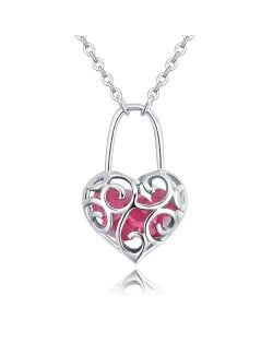 Austrian Crystal Inlaid Floral Hollow Heart Lock Pendant Platinum Plated Alloy Necklace - Rose