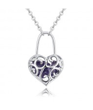 Austrian Crystal Inlaid Floral Hollow Heart Lock Pendant Platinum Plated Alloy Necklace - Violet