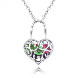 Austrian Crystal Inlaid Floral Hollow Heart Lock Pendant Platinum Plated Alloy Necklace - Multicolor