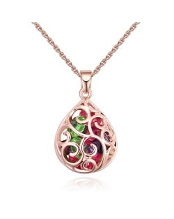 Austrian Crystal Beads Inlaid Floral Hollow-out Waterdrop Pendant Fashion Necklace - Multicolor