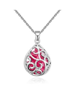 Austrian Crystal Beads Inlaid Floral Hollow-out Waterdrop Pendant Fashion Necklace - Rose