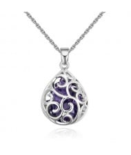 Austrian Crystal Beads Inlaid Floral Hollow-out Waterdrop Pendant Fashion Necklace - Violet