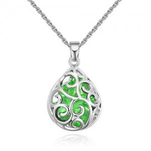 Austrian Crystal Beads Inlaid Floral Hollow-out Waterdrop Pendant Fashion Necklace - Olive