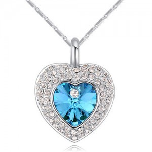 Austrian Crystal Inlaid Classic Shining Heart Pendant Necklace - Aquamarine