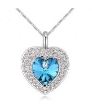 Austrian Crystal Inlaid Classic Shining Heart Pendant Necklace - Aquamarine