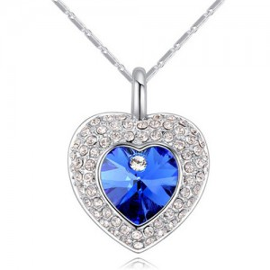 Austrian Crystal Inlaid Classic Shining Heart Pendant Necklace - Blue