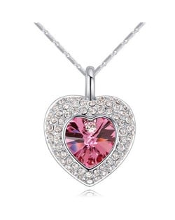Austrian Crystal Inlaid Classic Shining Heart Pendant Necklace - Rose