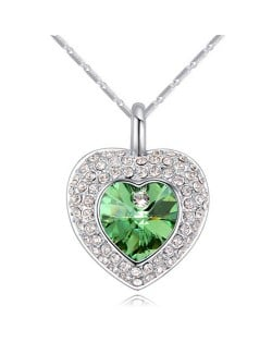 Austrian Crystal Inlaid Classic Shining Heart Pendant Necklace - Olive