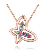 Austrian Crystal Embellished Hollow-out Graceful Butterfly Pendant Necklace - Rose Gold