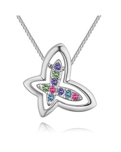 Austrian Crystal Embellished Hollow-out Graceful Butterfly Pendant Necklace - Platinum