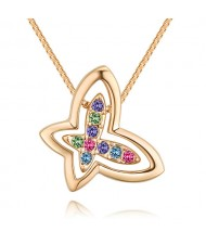 Austrian Crystal Embellished Hollow-out Graceful Butterfly Pendant Necklace - Gold