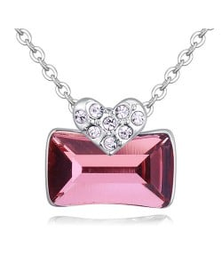 Elegant Heart and Austrian Crystal Oblong Pendant Fashion Necklace - Pink