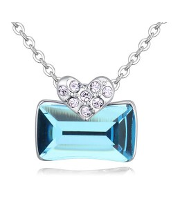 Elegant Heart and Austrian Crystal Oblong Pendant Fashion Necklace - Aquamarine