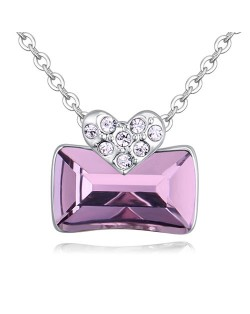 Elegant Heart and Austrian Crystal Oblong Pendant Fashion Necklace - Violet