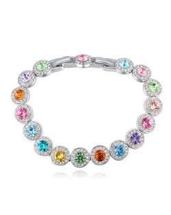 Luxurious Austrian Crystal Inlaid Rounds Fashion Platinum Plated Bracelet - Multicolor