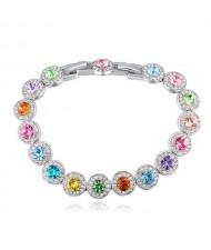 Luxurious Austrian Crystal Inlaid Rounds Fashion Platinum Plated Bracelet - Multicolor