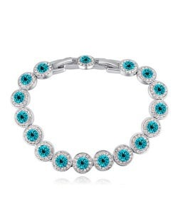 Luxurious Austrian Crystal Inlaid Rounds Fashion Platinum Plated Bracelet - Aquamarine