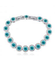Luxurious Austrian Crystal Inlaid Rounds Fashion Platinum Plated Bracelet - Aquamarine