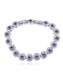Luxurious Austrian Crystal Inlaid Rounds Fashion Platinum Plated Bracelet - Violet