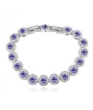 Luxurious Austrian Crystal Inlaid Rounds Fashion Platinum Plated Bracelet - Violet