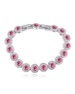 Luxurious Austrian Crystal Inlaid Rounds Fashion Platinum Plated Bracelet - Rose