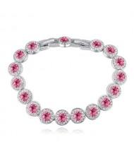 Luxurious Austrian Crystal Inlaid Rounds Fashion Platinum Plated Bracelet - Rose
