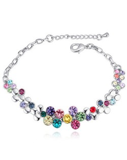 Austrian Crystal Splendid Flowers Cluster Platinum Plated Bracelet - Multicolor