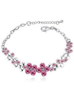 Austrian Crystal Splendid Flowers Cluster Platinum Plated Bracelet - Rose