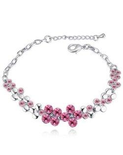 Austrian Crystal Splendid Flowers Cluster Platinum Plated Bracelet - Rose