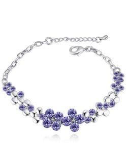 Austrian Crystal Splendid Flowers Cluster Platinum Plated Bracelet - Violet