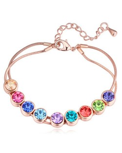 Shining Austrian Crystal Embellished Graceful Gold Plated Bracelet - Multicolor